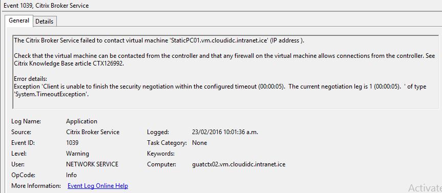 VDA Agent unregistered - Problem login the machines  - XenDesktop 7
