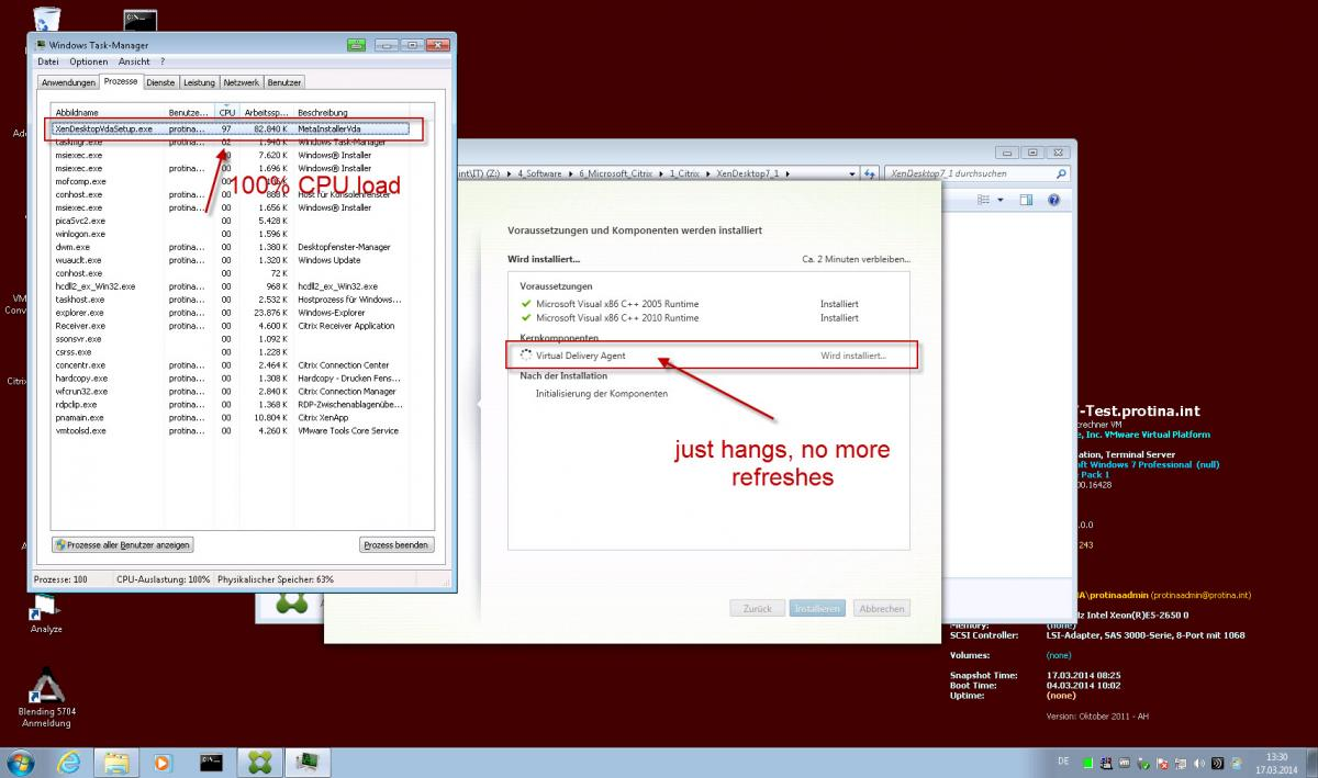 Windows 7 VDA Install causes 100% CPU Load and hangs - XenDesktop 7