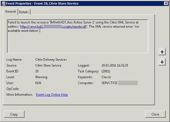 After upgrade to v3 5 - Citrix Store Service Event ID 28 - Failed to