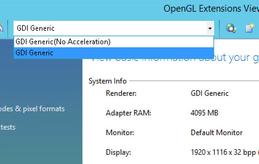 OpenGL on bare metal --> GDI driver instead of GPU - XenApp