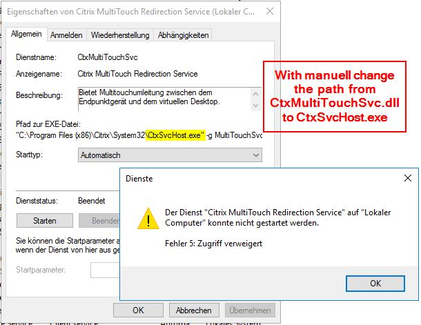Citrix MultiTouch Redirection Service cannot start - VDA