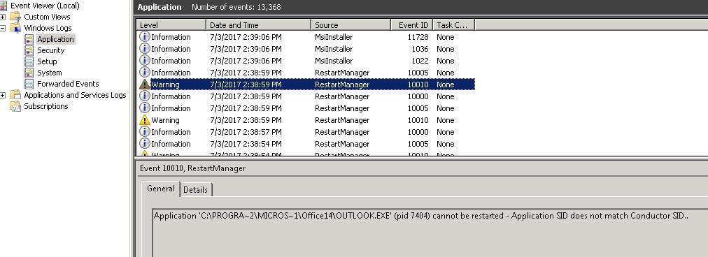 Outlook RestartManager Error Application Not Launching