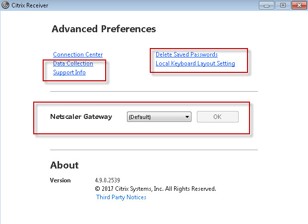 Disable or hide Advanced Preferences on Citrix Receiver 4 9