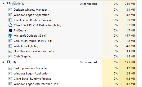 Disconnected ghost sessions with 4 processes - XenApp 7 x