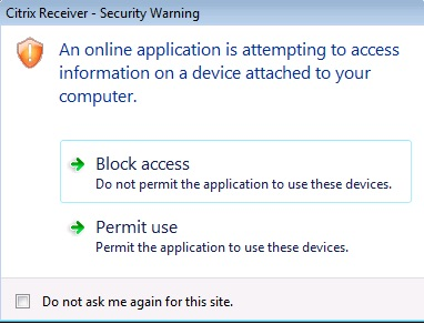 Citrix Receiver Security Warning - Block Access / Permit Use