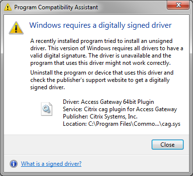 NetScaler Gateway Plug in digitally signed driver