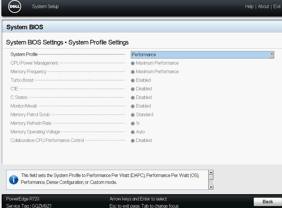 Recommended BIOS settings for Dell D720 for Xenserver - Server