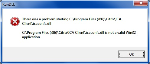 icaconfs dll is not a valid Win32 application - Receiver for