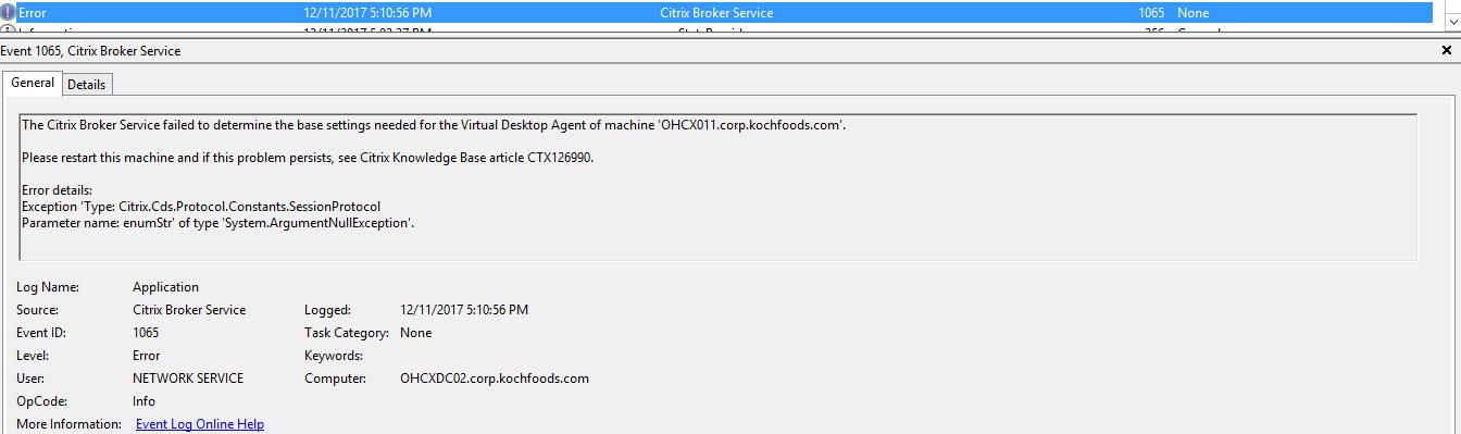 Citrix Broker Service Failed to Broker a Connection - XenApp