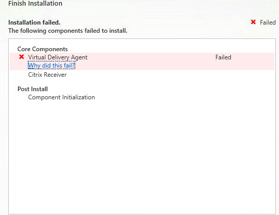 INstall VDA fialing with error-Installation of the ICA for