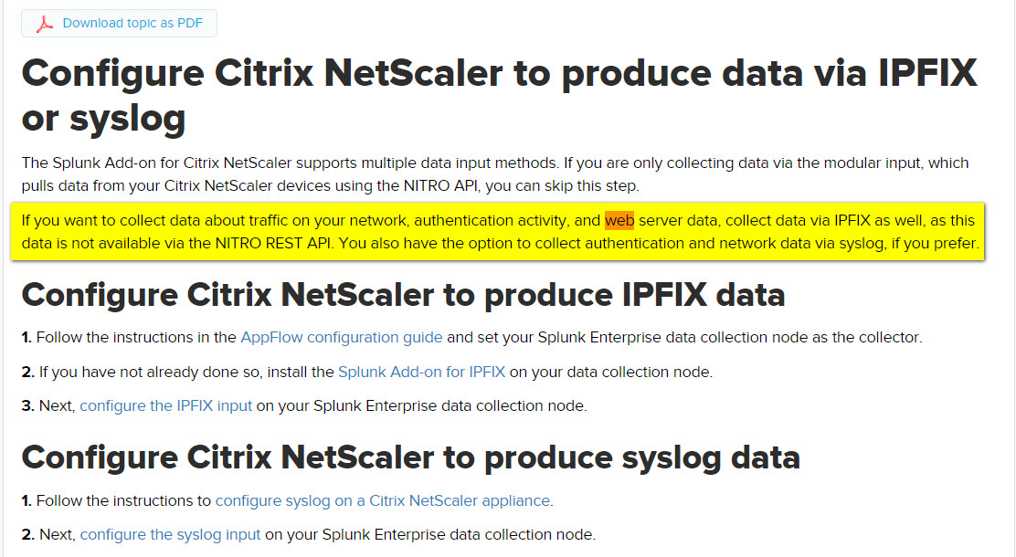 Get Web Url with splunk and syslog - NetScaler Application Delivery
