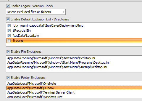 Outlook inclusion/ exclusion using WEM - WEM (Workspace