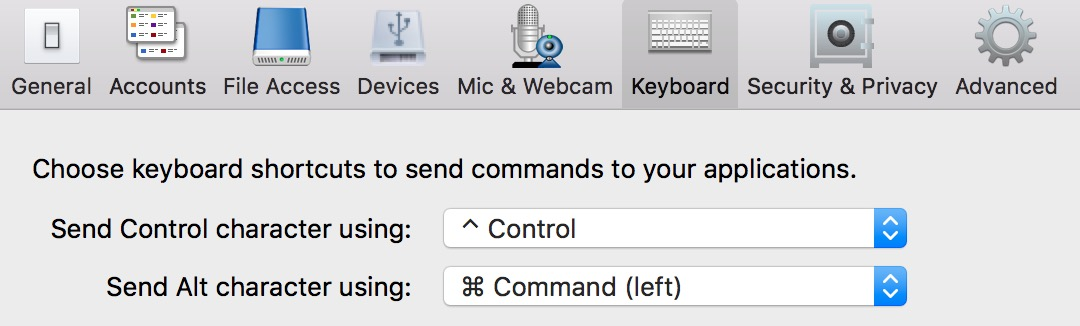 CMD key as Alt with combo doesn't work - Receiver for Macintosh