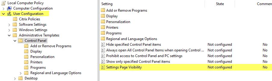 Server 2016 & PC Settings/Immersive Control Panel - XenApp 7