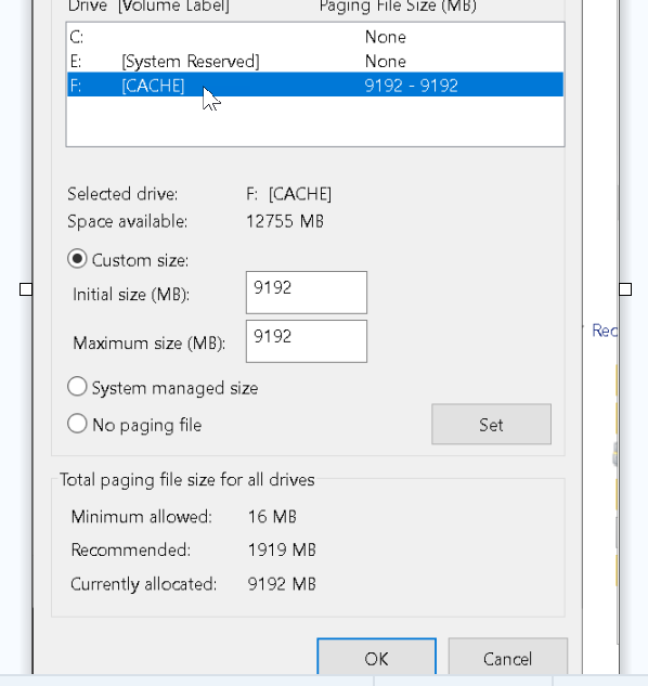 page file not working with target device PVS 7 15 9